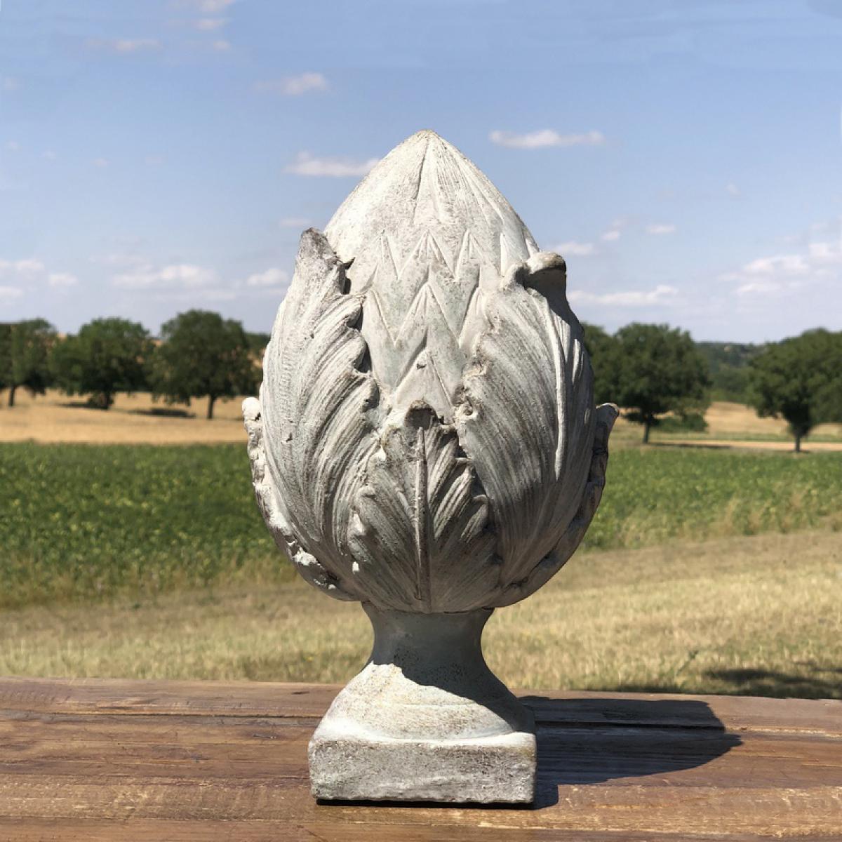 L'Originale Deco Grande Pomme de Pin Déco Epi Obélisque Terre Cuite 27 cm x 14 cm