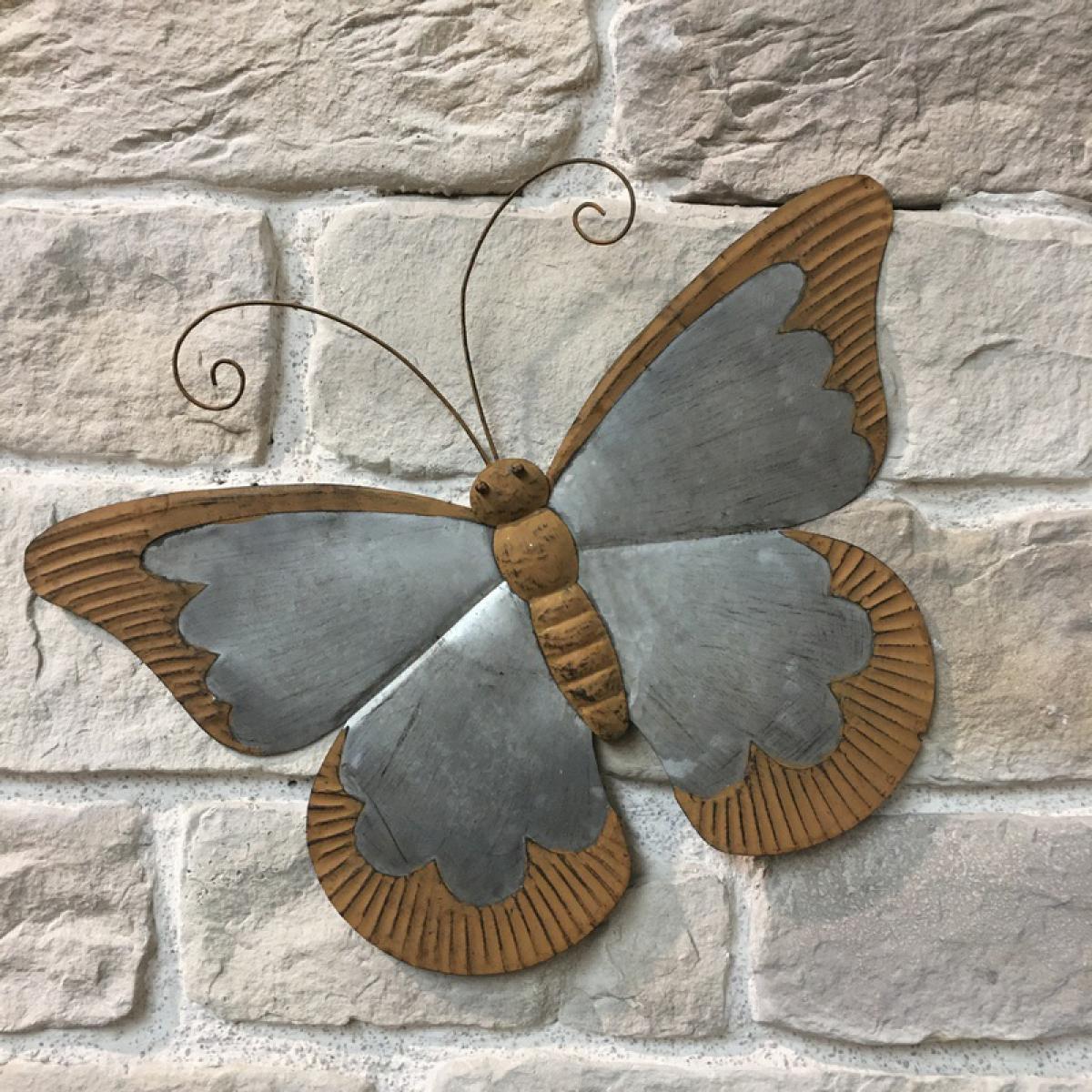 L'Originale Deco Silhouette Statue Animaux Oiseau Papillon Mural de Jardin Fer 60 cm x 46 cm x 2.50 cm