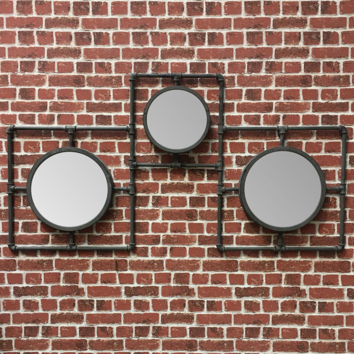 L'Originale Deco Style Ancien Miroir Industrielle Fer Métal Miroir Multiple Rond 160 cm x 86 cm