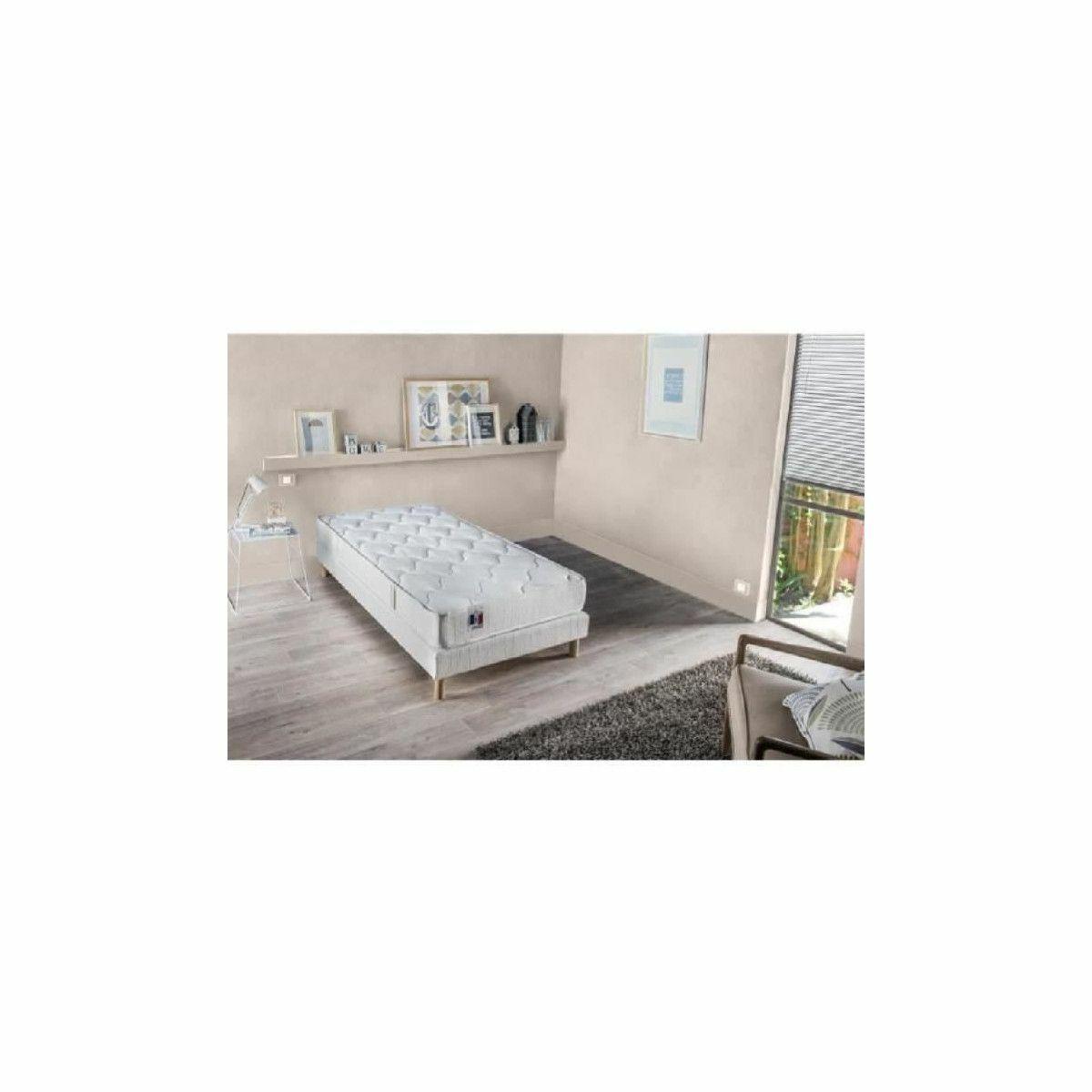 Confort Design Ensemble Matelas 100% Latex 3 Zones + Sommier Bois massif 90x190 INSOLITE