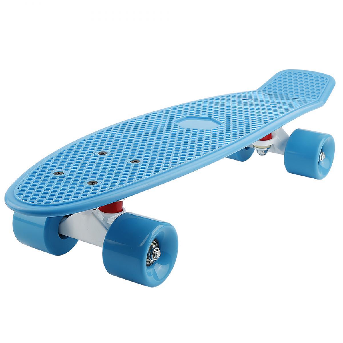 Ltppstore Skateboard Enfant, Skateboard Plastique, Skateboard Retro, Panneau PP + Support en Alliage d'aluminium + Roues PU, 57 *