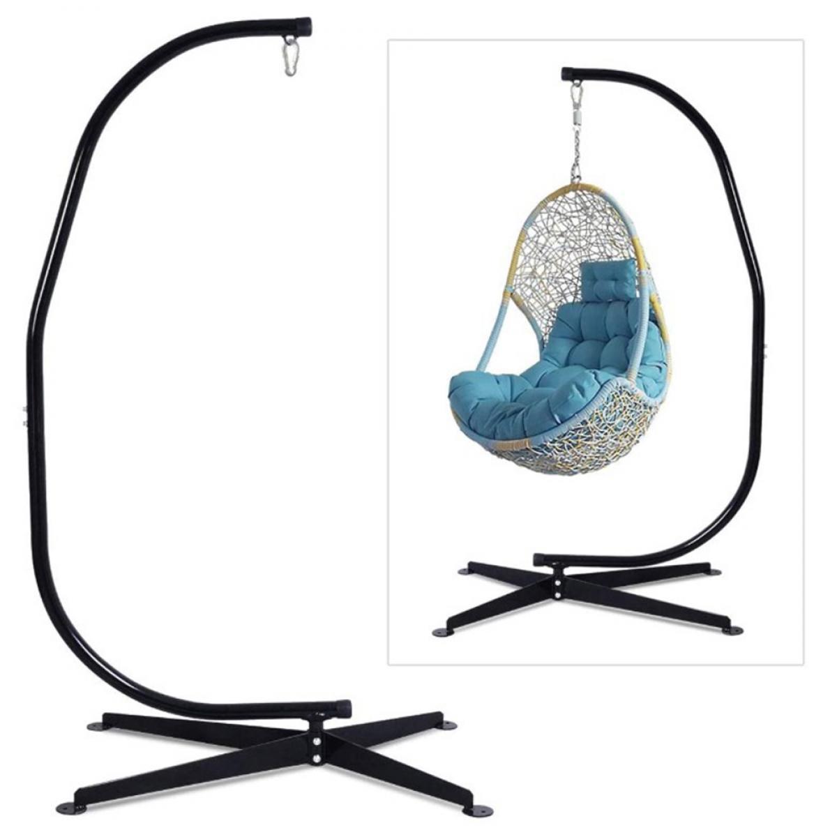 Ltppstore Support pour fauteuil suspendu 205cm Soutien en acier pour accrocher balancelle et chaises suspendues poids max 150kg mé