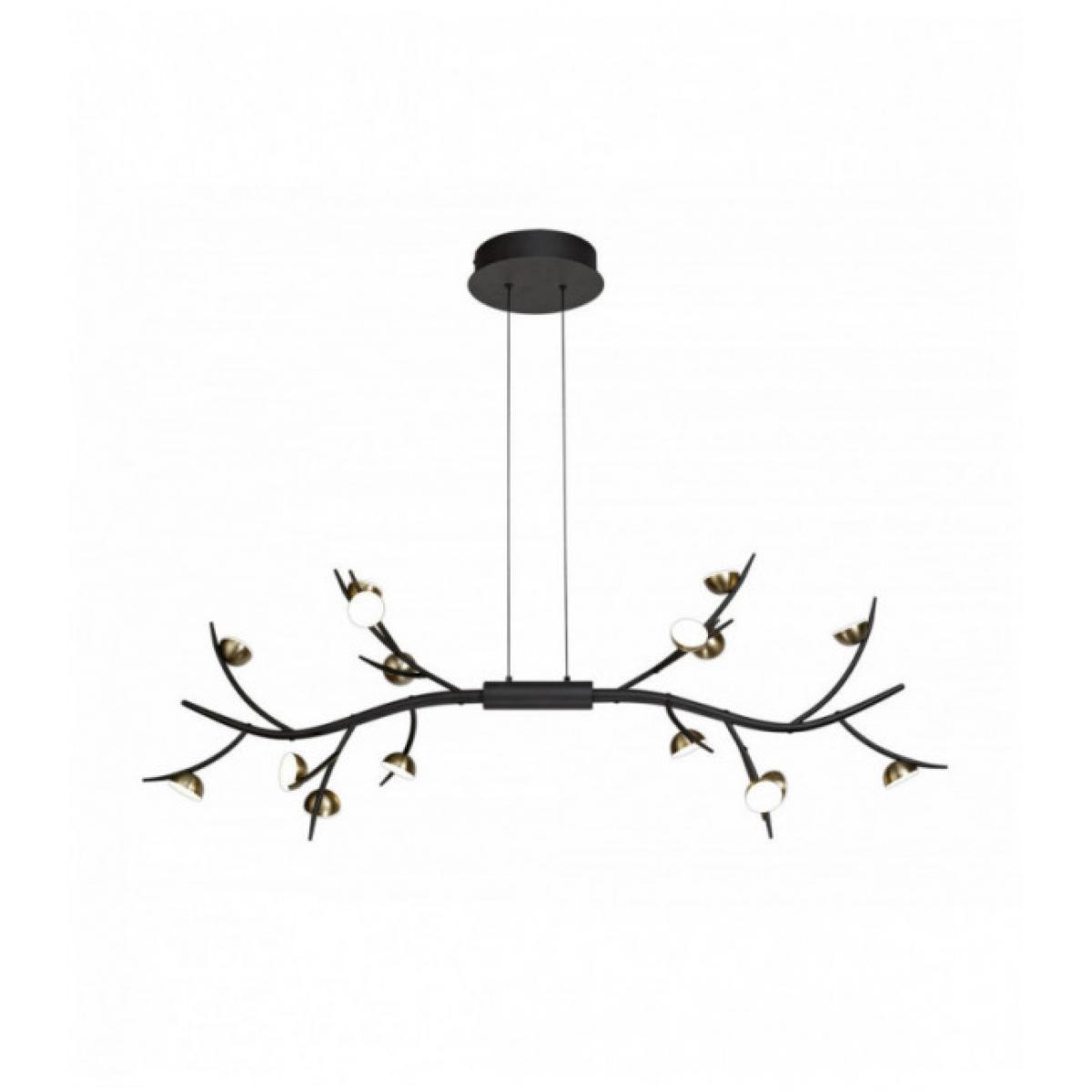 Luminaire Center Suspension Barocco 16 Ampoules Noir 17,5 Cm