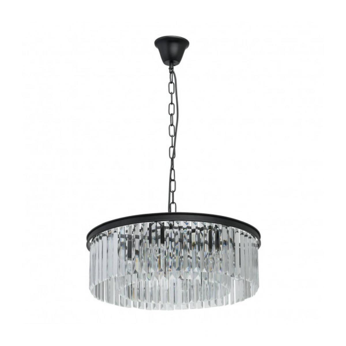 Luminaire Center Suspension noire Loft 6 ampoules 86 Cm abat jour transparent