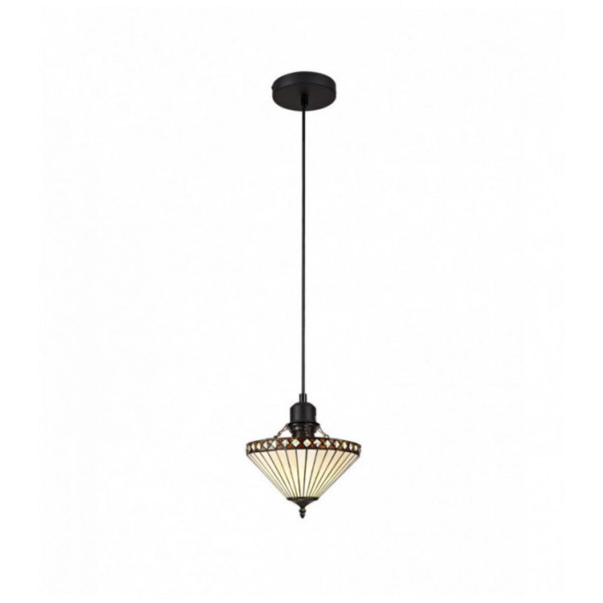 Luminaire Center Suspension Tiffany Carole 1 Ampoule Ambre 17 Cm