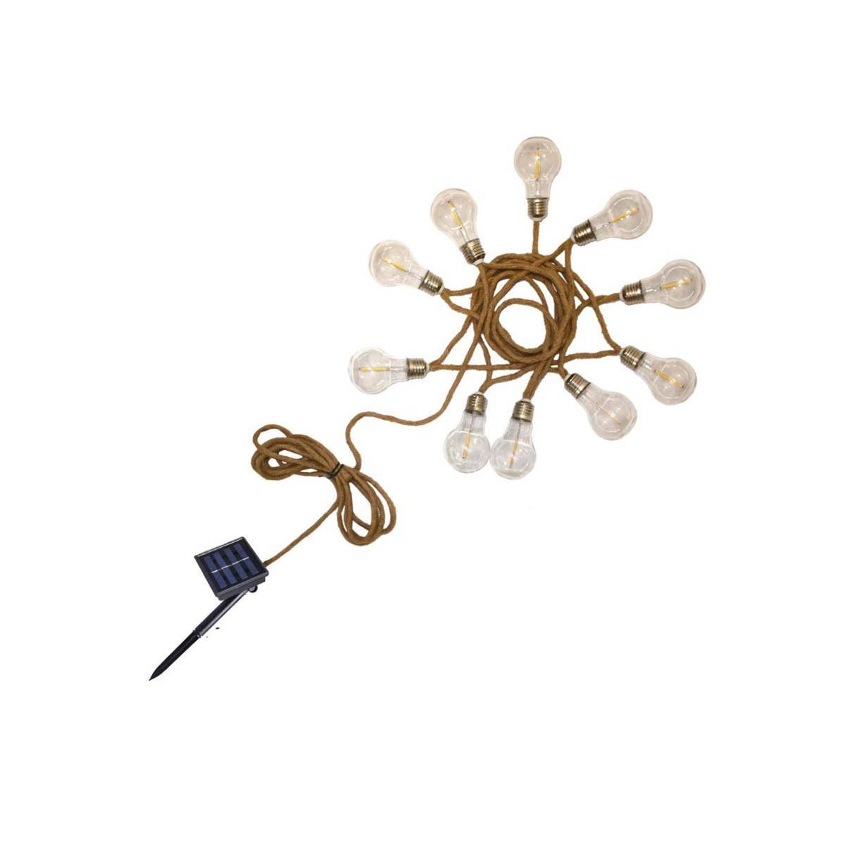 Lumisky Guirlande lumineuse solaire en corde 10 ampoules transparentes LED blanc chaud FANTASY CORD SOLAR 7,45 m