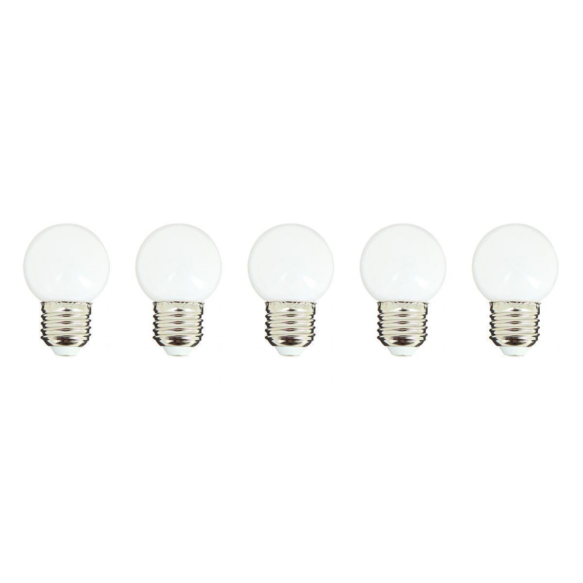 Lumisky Lot de 5 ampoules LED E27 PARTY BULB WHITE blanc H7cm