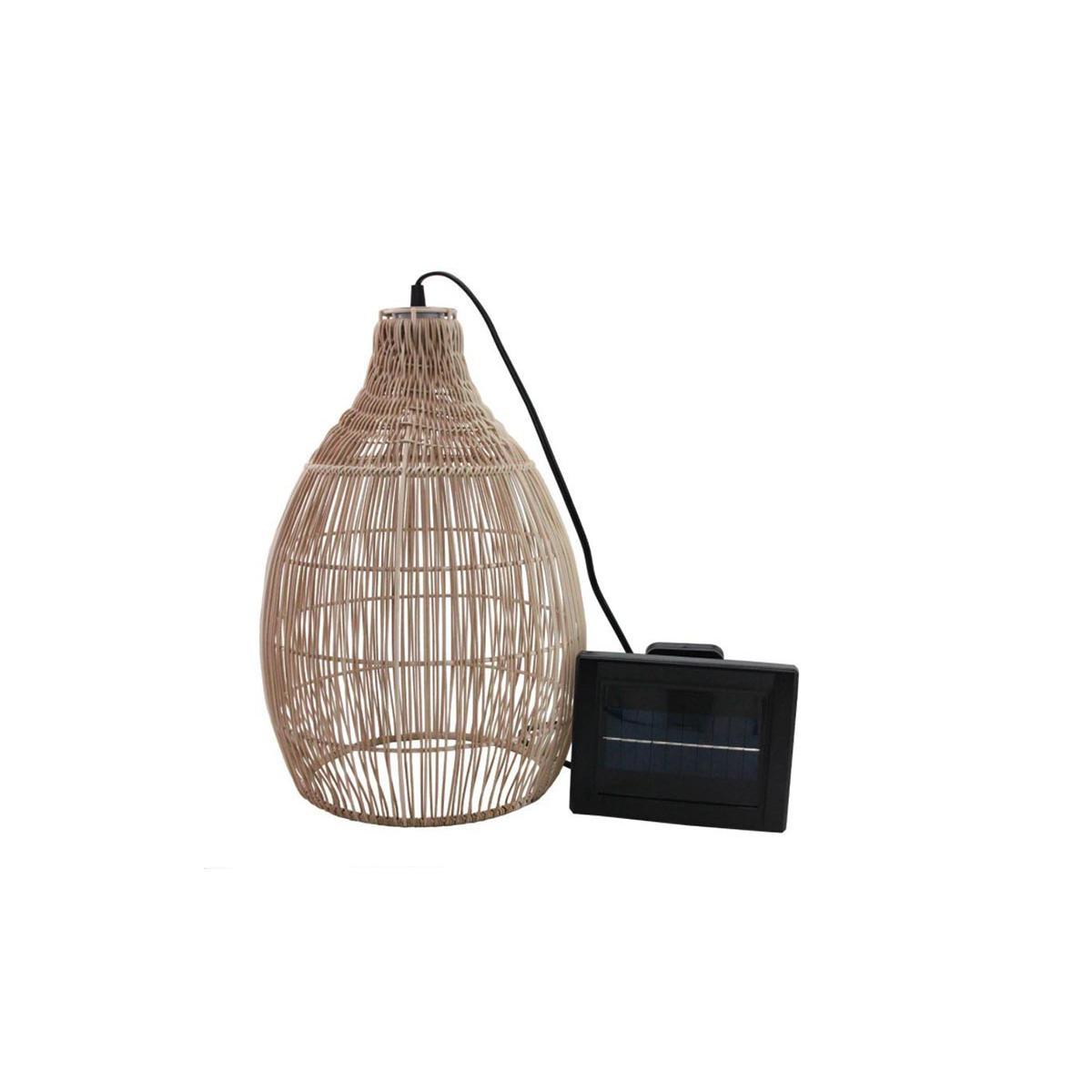 Lumisky Suspension solaire bohème naturel style vannerie tressée LED blanc chaud HOLIDAY H 42 cm