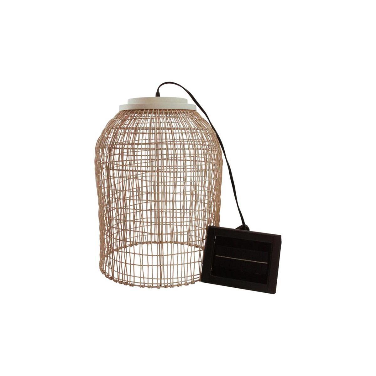 Lumisky Suspension solaire bohème naturel style vannerie tressée LED blanc chaud KO SAMUY H 46 cm