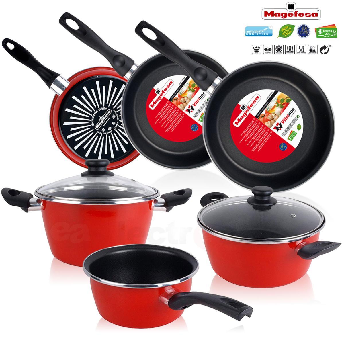 Magefesa Batterie de cuisine 5 pièces Jeu de 3 poêles 18-20-24 cm induction antiadhésives Magefesa GRANA
