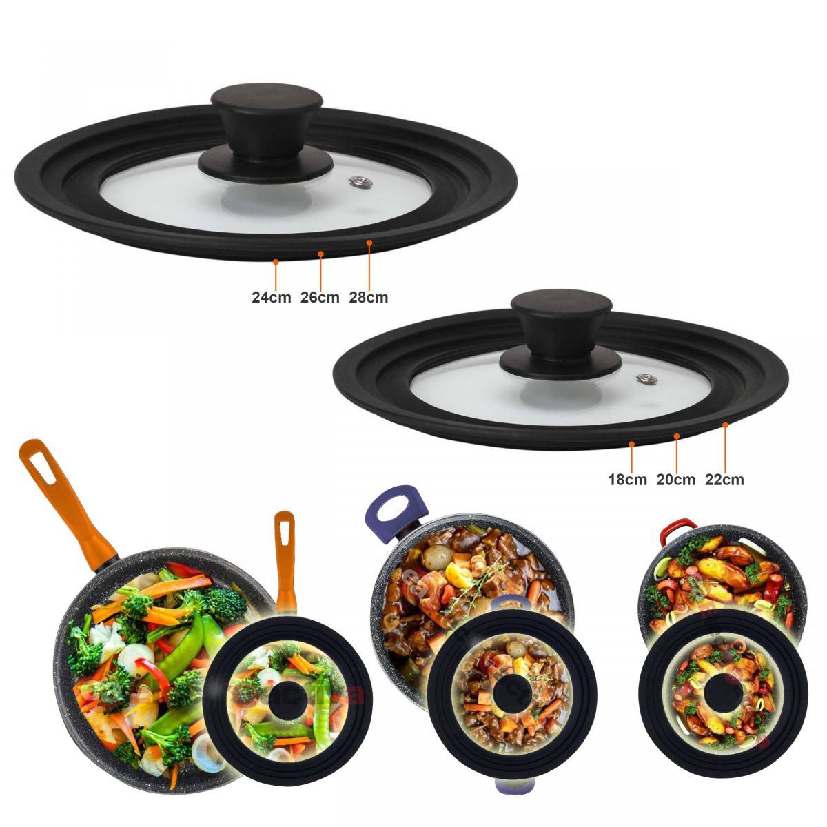 Magefesa Couvercle de poêle à frire casseroles 18-20-22, 24-26-28, multi-diamètre Magefesa