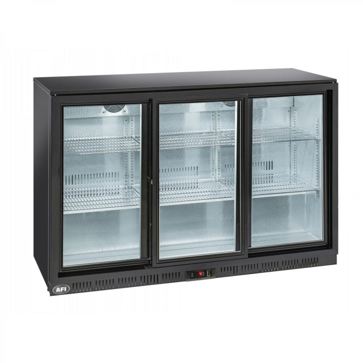 Materiel Chr Pro Arrière Bar Réfrigéré Laqué Noir - 2 à 3 Portes Vitrées Coulissantes - AFI Collin Lucy - R600A 2 Portes 320