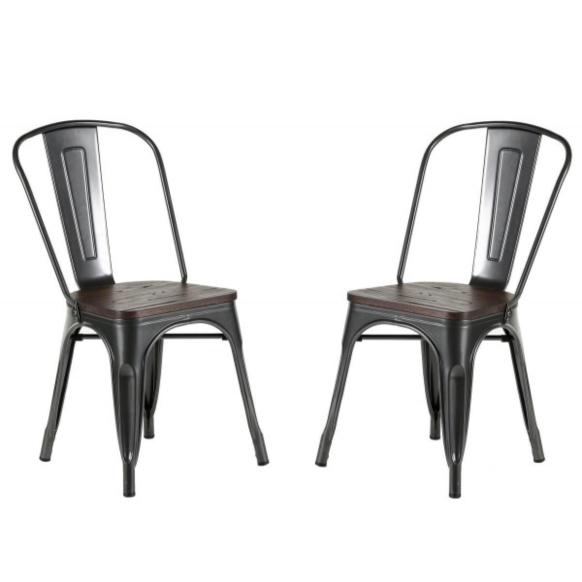 Mathi Design NEVADA - Chaise design de repas acier gris et bois foncé