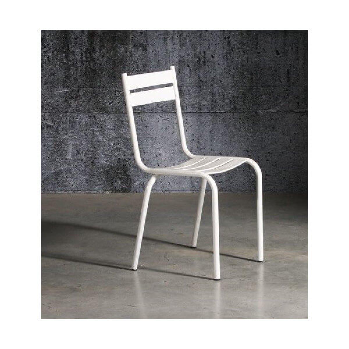 Mathi Design PRITY - Chaise en métal laqué blanc