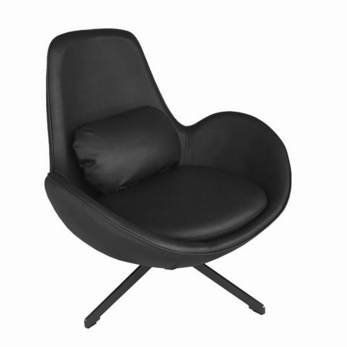 Mathi Design SPACE - Fauteuil contemporain en aspect cuir noir