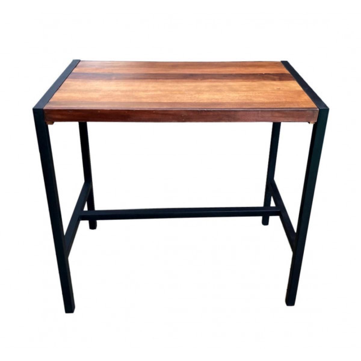 Mathi Design Table haute rectangulaire acier et bois