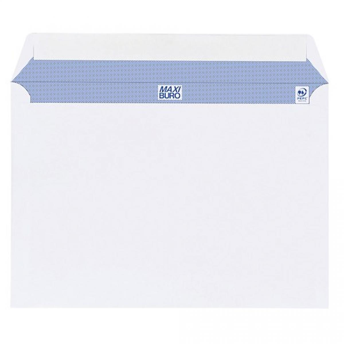 Maxiburo Boite de 500 enveloppes Maxiburo blanches 162x229 mm format C5 avec bande protectrice - avec fenêtre 45 x 100