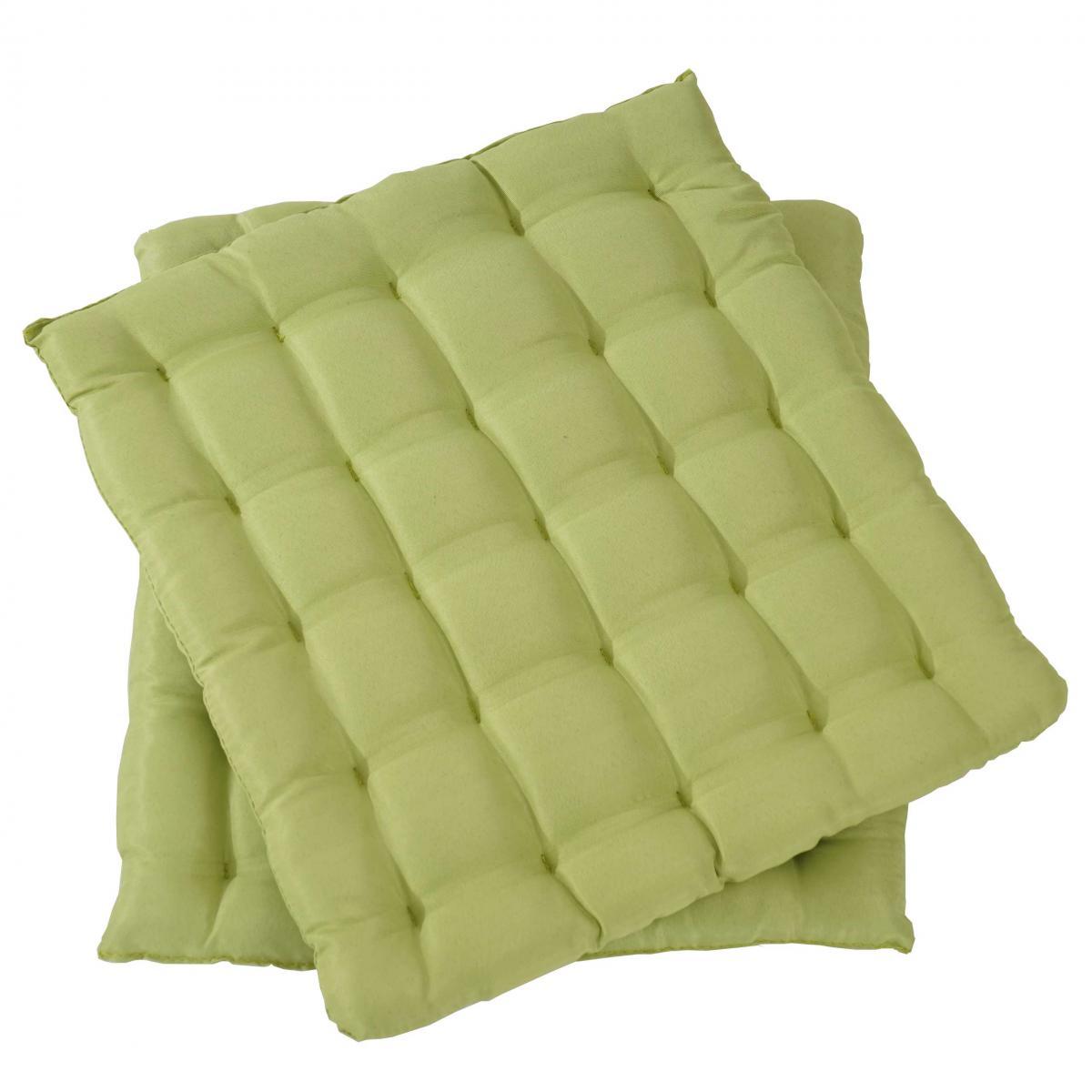 Mendler 2x coussin Canberra, coussins de chaise, 43x41x3cm ~ vert clair