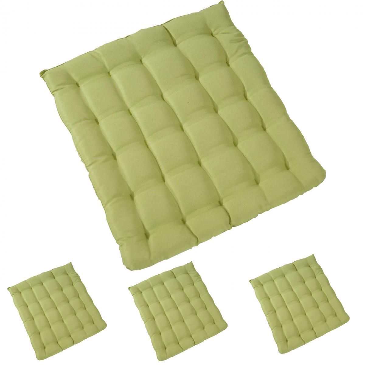 Mendler 4x coussin Canberra, coussins de chaise, 43x41x3cm ~ vert clair
