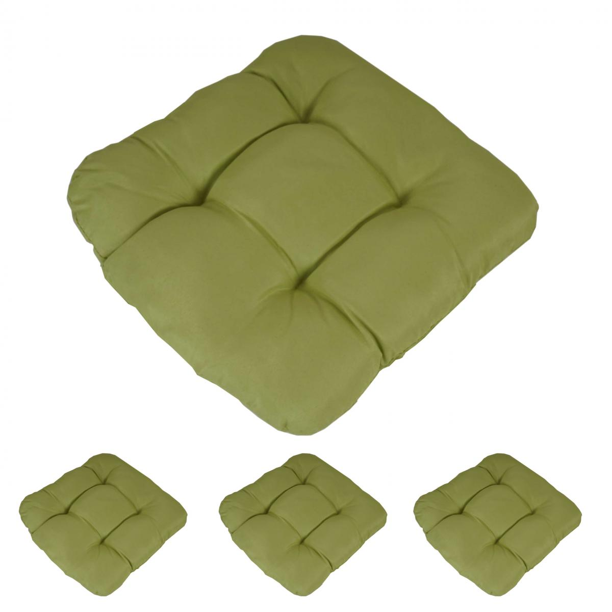 Mendler 4x coussin Dublin, coussins de chaise, 43x41x3cm ~ vert clair