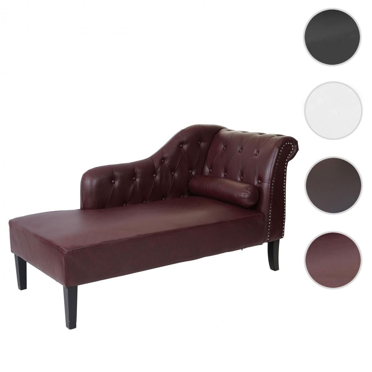 Mendler Chaise longue de luxe Chesterfield, cuir synthétique ~ rouge-brun