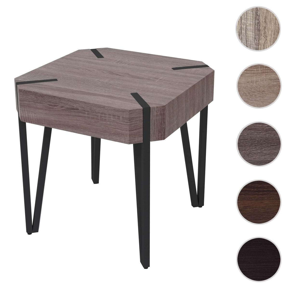 Mendler Table basse de salon Kos T574, FSC 52x50x50cm ~ chêne foncé, pieds métalliques foncés