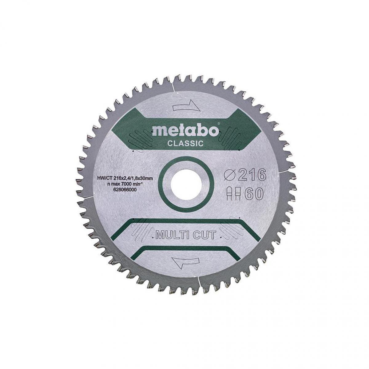 Metabo Metabo - Lame de scie circulaire 216x2.4x30mm 60 dents HW/CT