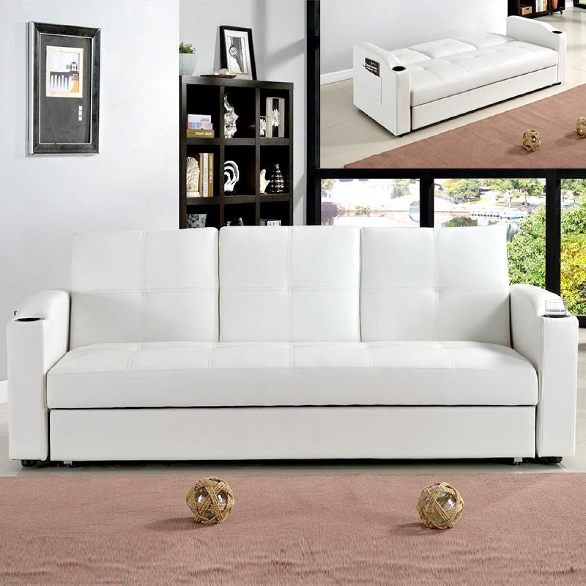 Meubler Design Canapé 3 places clic-clac avec tablette centrale rabattable coffre Corabar - Blanc