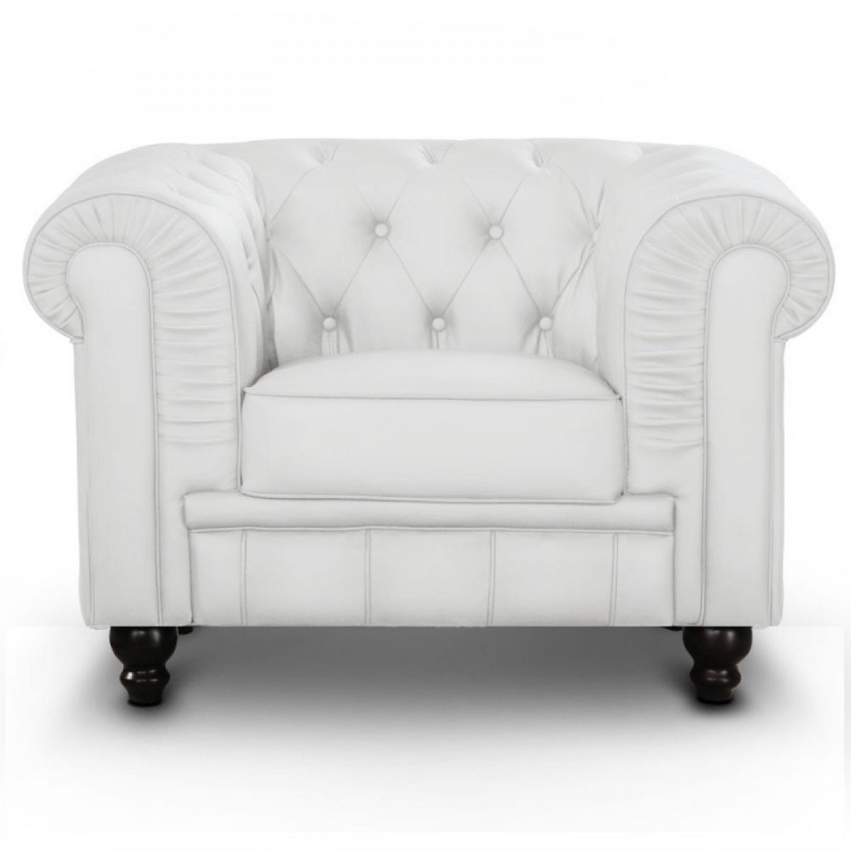 Meubler Design Fauteuil Chesterfield capitonné - PU Blanc