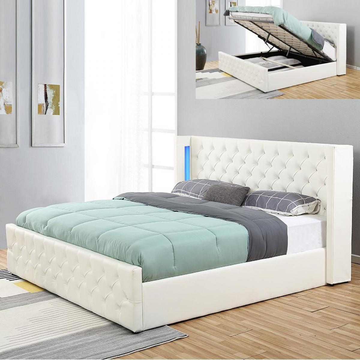 Meubler Design Lit coffre design avec led OSMOS - Blanc - 140x190