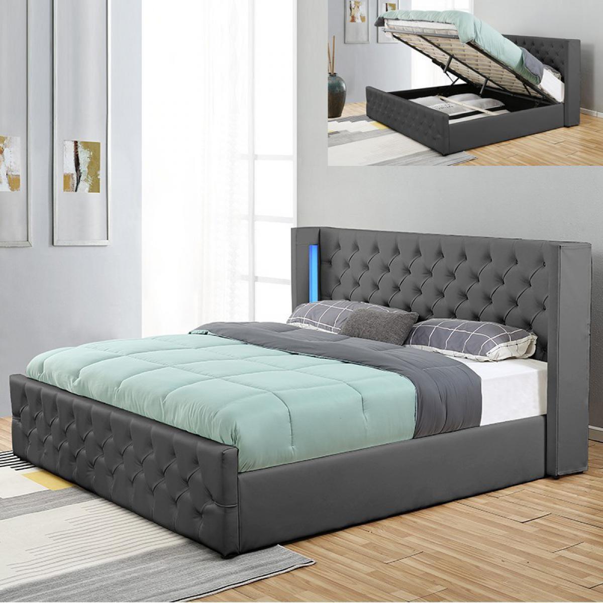 Meubler Design Lit coffre design avec led OSMOS - Gris - 180x200