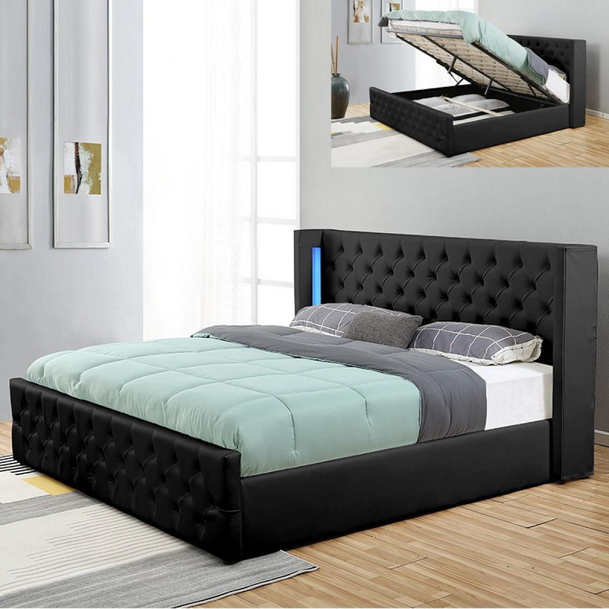 Meubler Design Lit coffre design avec led OSMOS - Noir - 160x200