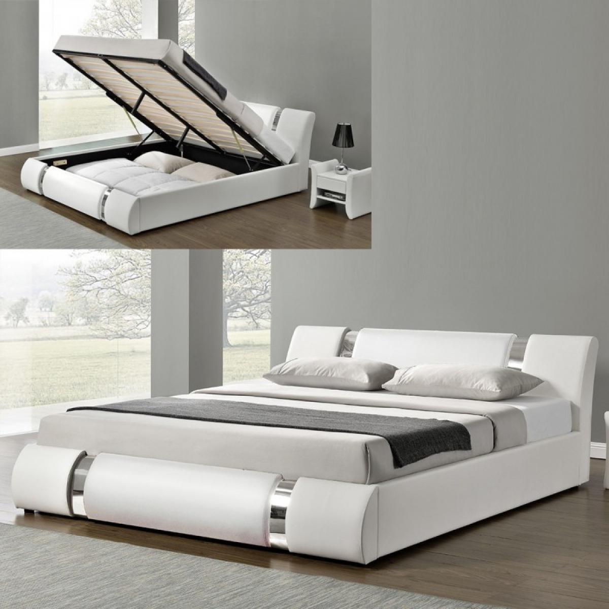 Meubler Design Lit Coffre Sommier Relevable Nova - Blanc - 140x190