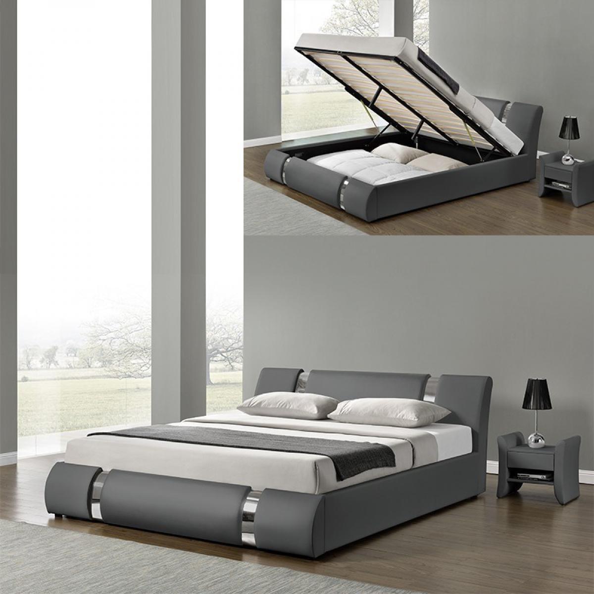 Meubler Design Lit Coffre Sommier Relevable Nova - Gris - 160x200