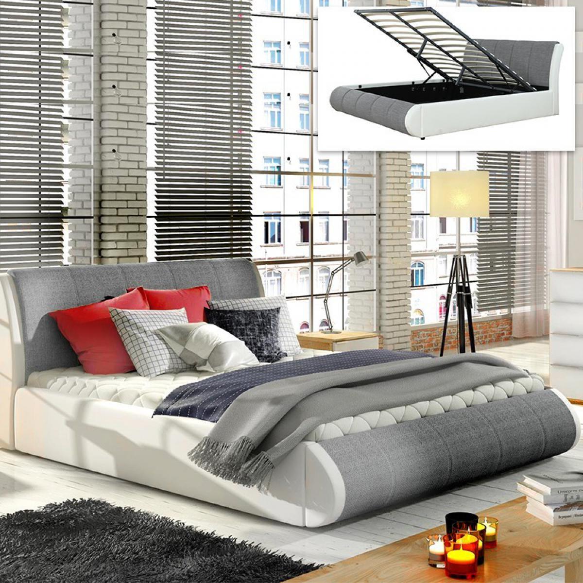 Meubler Design LIT COFFRE XENON AVEC SOMMIER - Gris tissu - 180x200