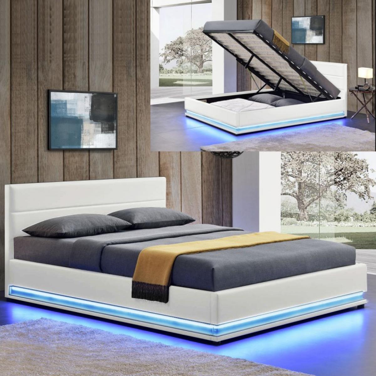 Meubler Design Lit led avec coffre de rangement AVA - Blanc - 180x200