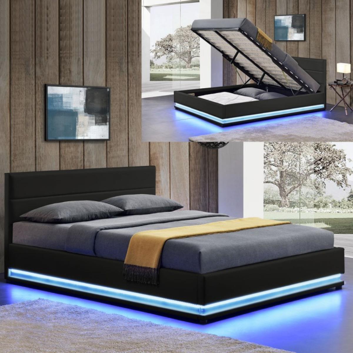 Meubler Design Lit led avec coffre de rangement AVA - Noir - 180x200