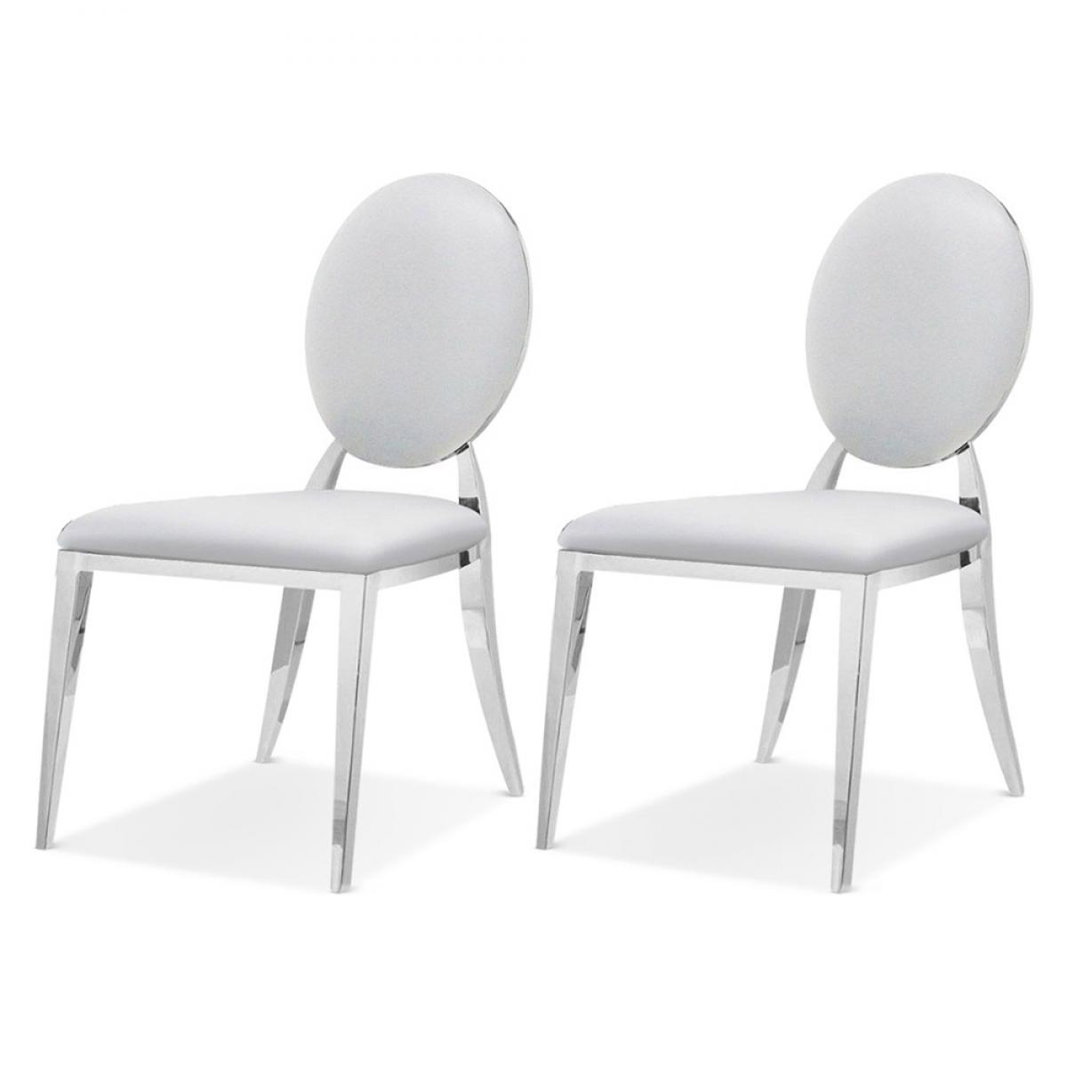 Meubler Design Lot De 2 Chaises Médaillon Pied Acier ERA - PU Blanc