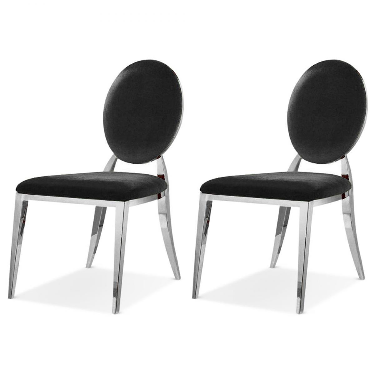 Meubler Design Lot De 2 Chaises Médaillon Pied Acier ERA - PU Noir