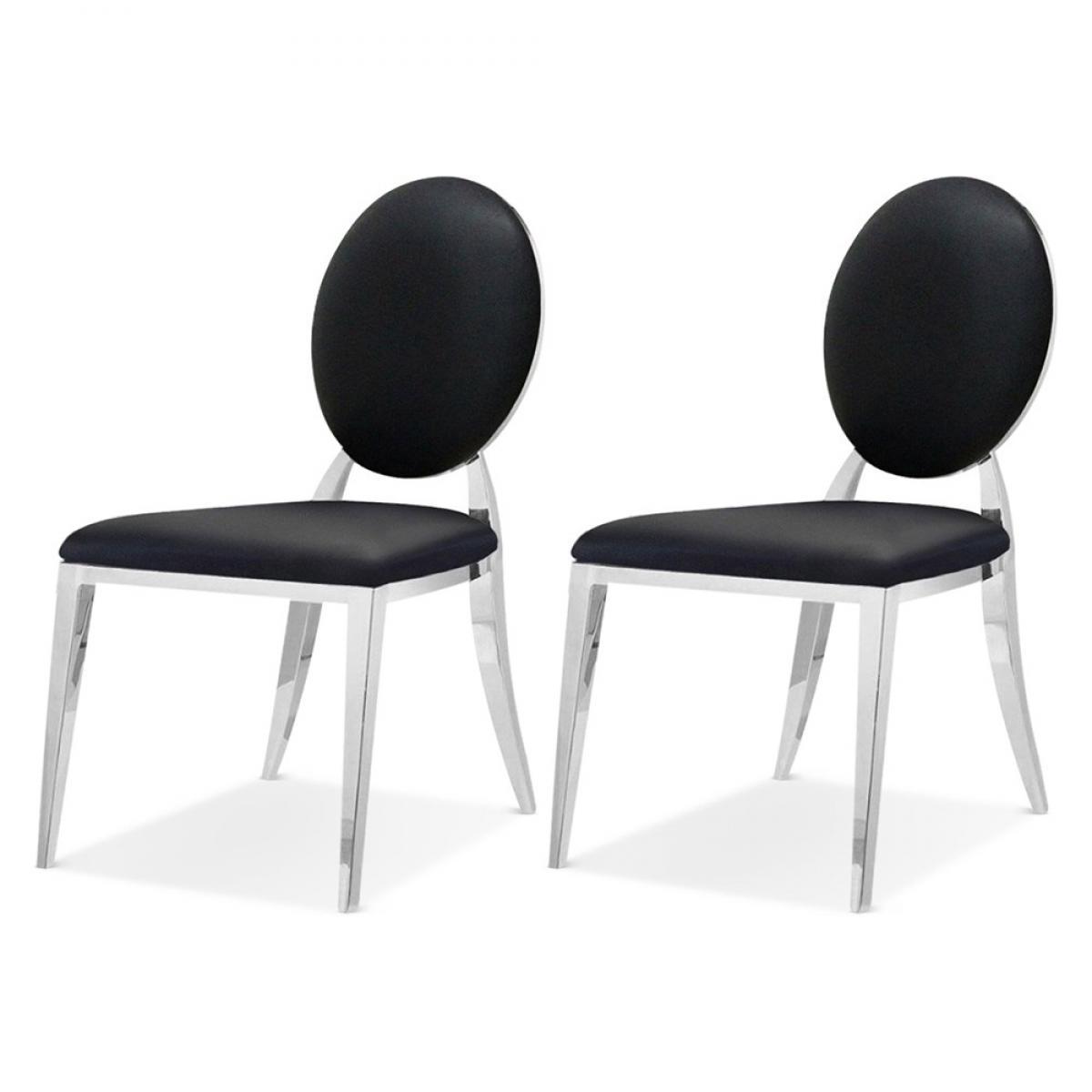 Meubler Design Lot De 2 Chaises Médaillon Pied Acier ERA - Velours Noir