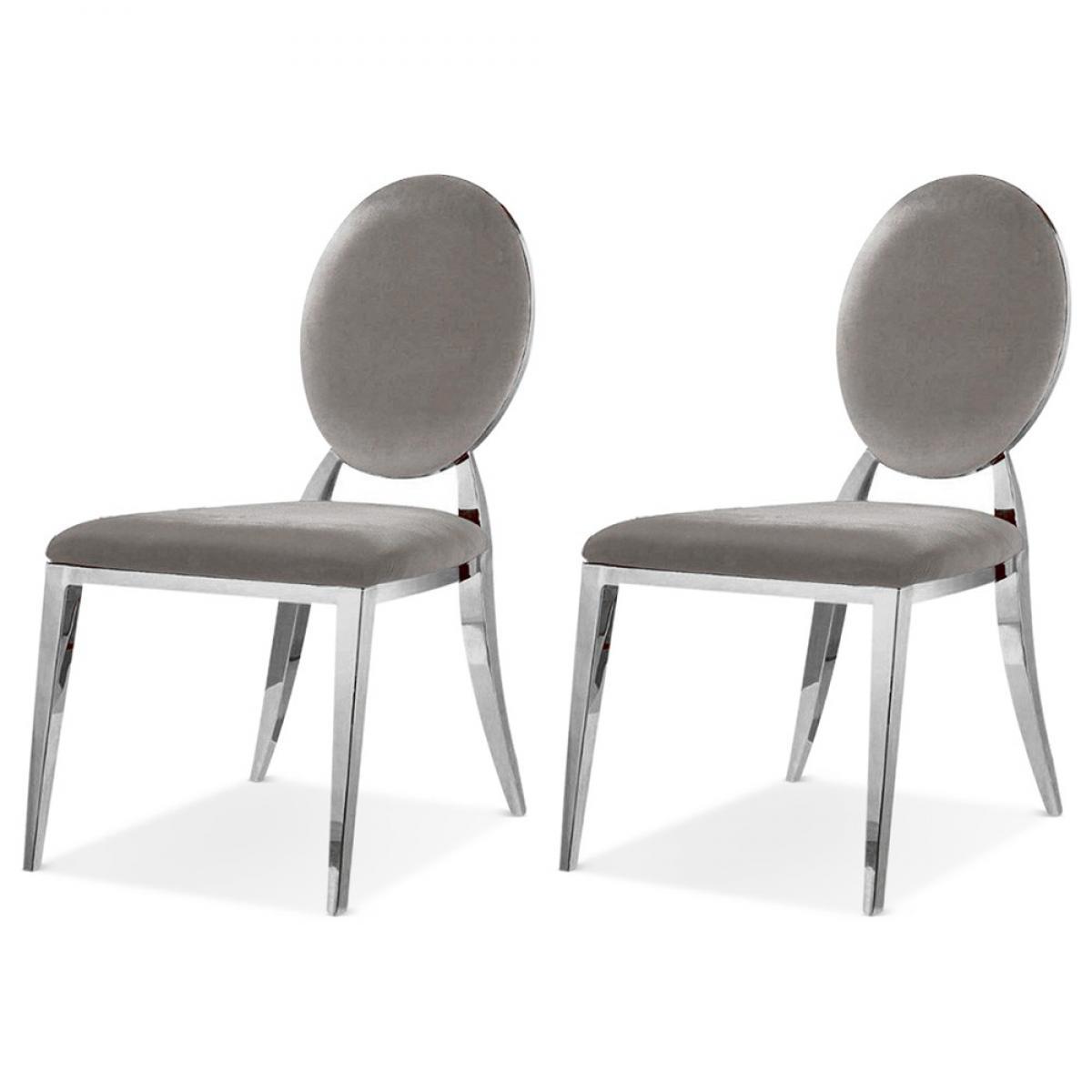 Meubler Design Lot De 2 Chaises Médaillon Pied Acier ERA - Velours Taupe