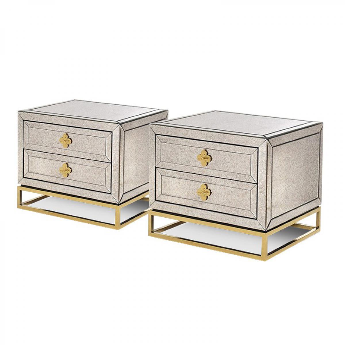 Meubler Design Lot de deux tabless de chevet en miroir vieilli LOUIS