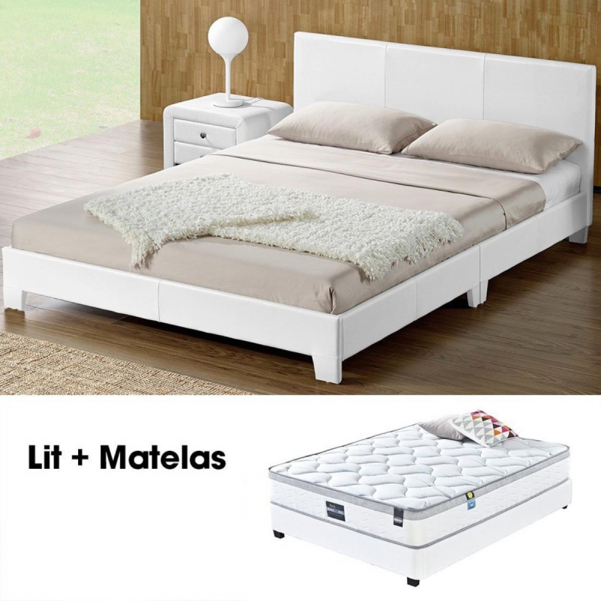 Meubler Design Sommier + Matelas SIMPLI 160 blanc