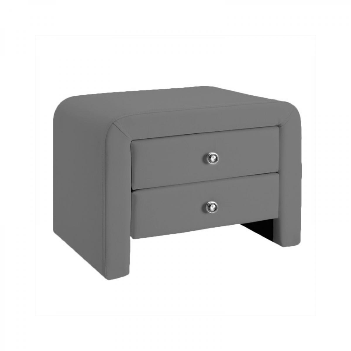 Meubler Design Table chevet design en simili cuir Eva - Gris