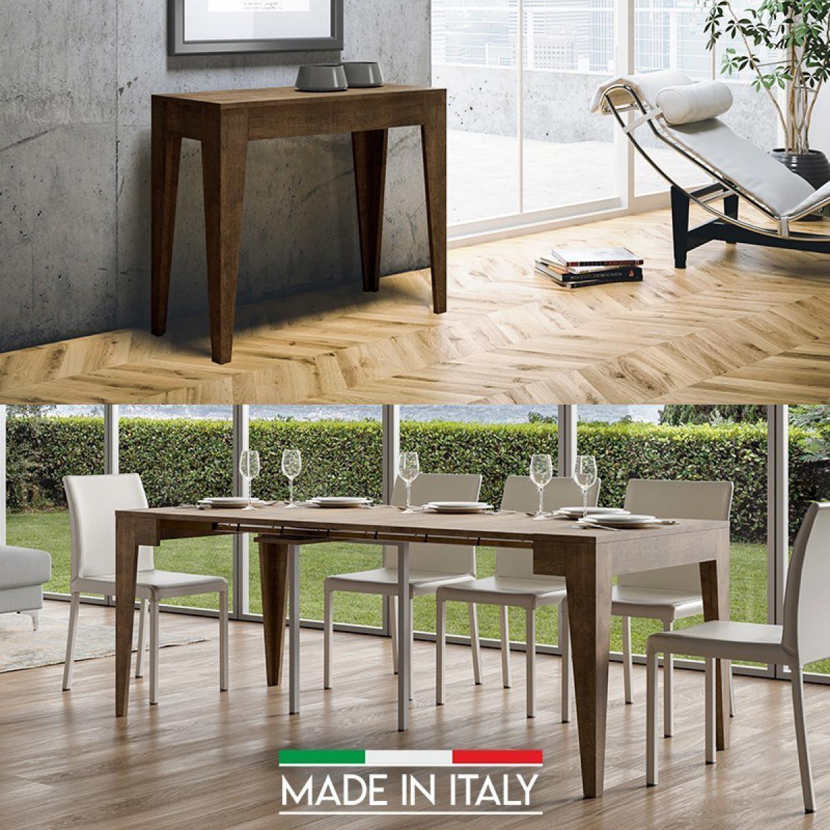 Meubler Design Table Console extensible Isotta Bois - Noyer, Nombre d'extensions - 3 Rallonges