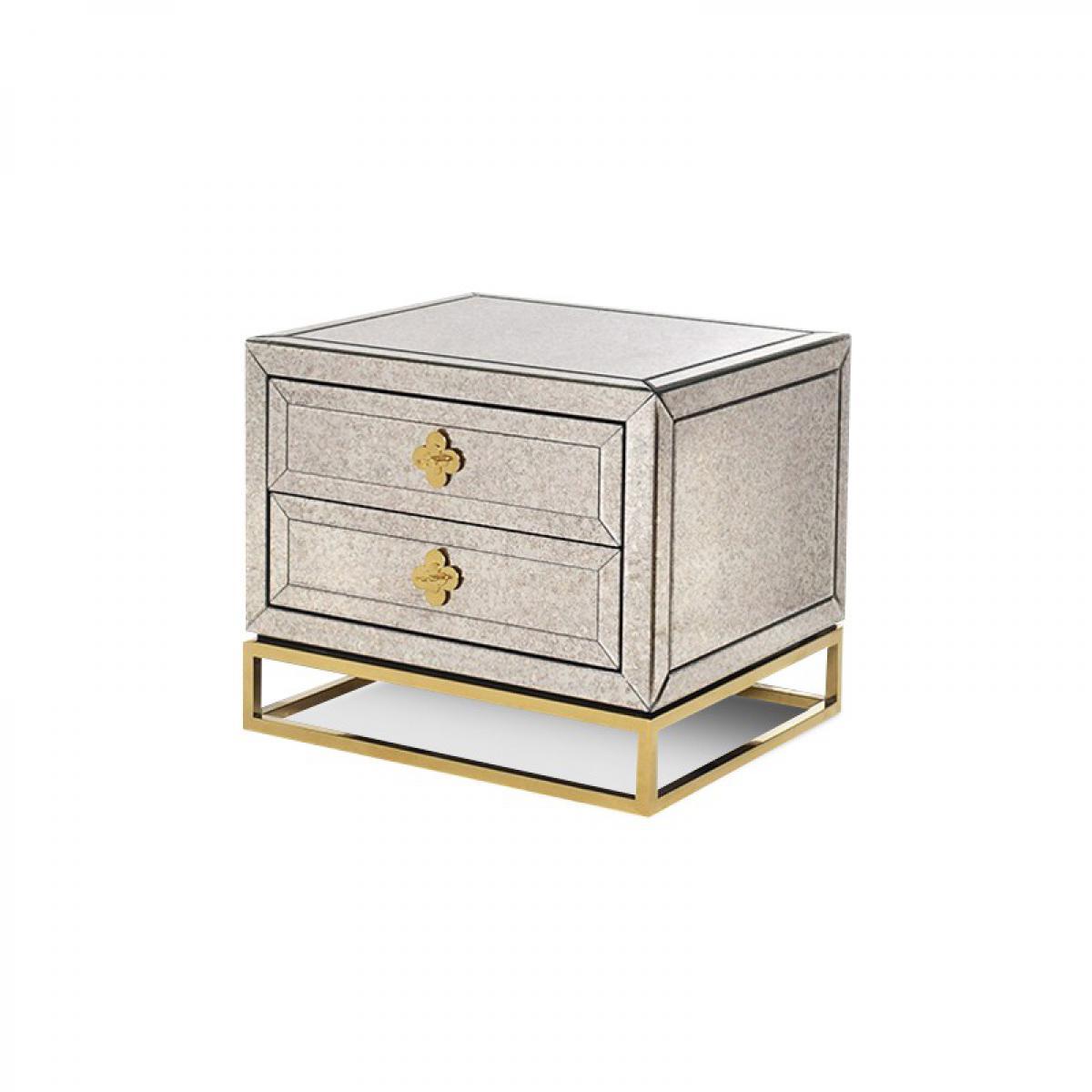 Meubler Design Table de chevet en miroir vieilli piétement doré LOUIS