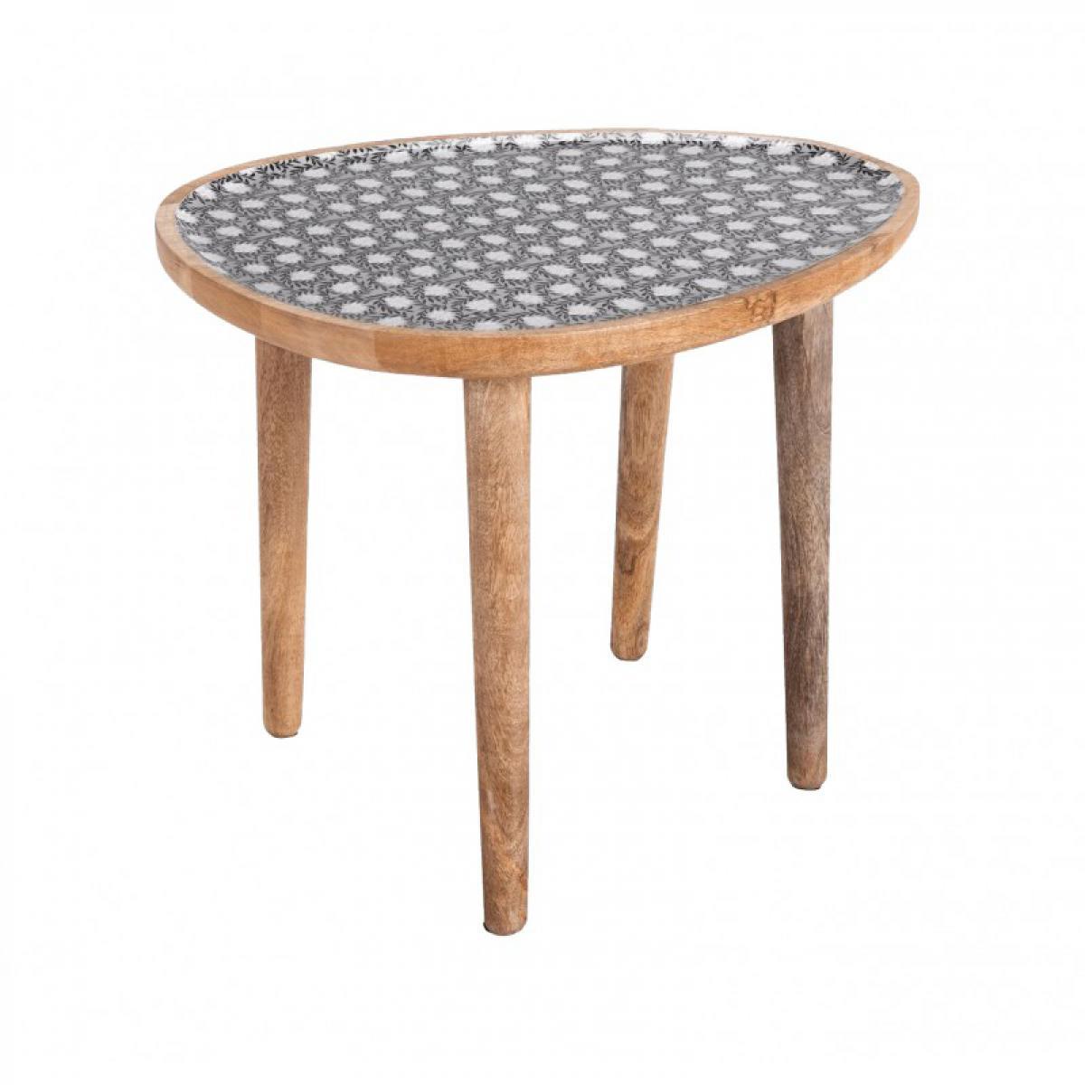 Meubletmoi Bout de canapé ovale en bois - Olivia 0603