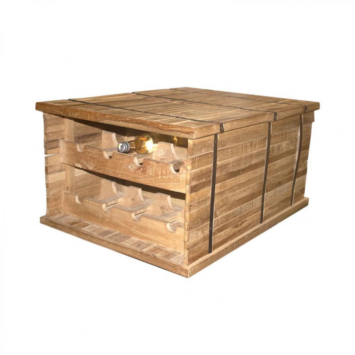 Meubletmoi Coffre table basse porte bouteille en bois - SPARROW