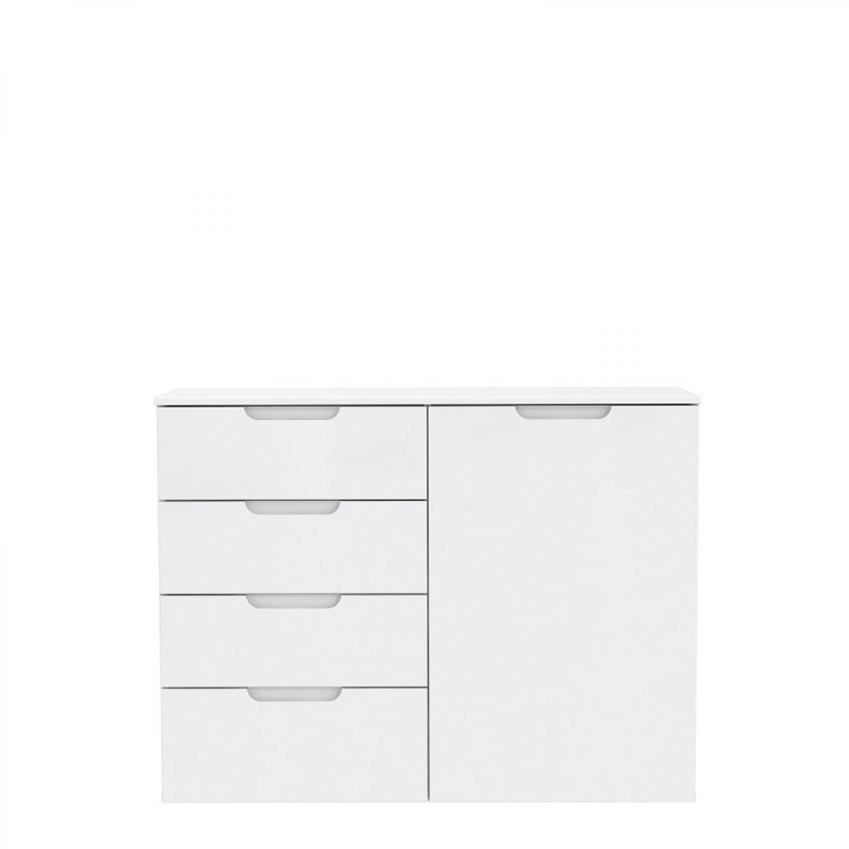 Meubletmoi Commode dressing blanc laqué 1 porte, 4 tiroirs - PURE