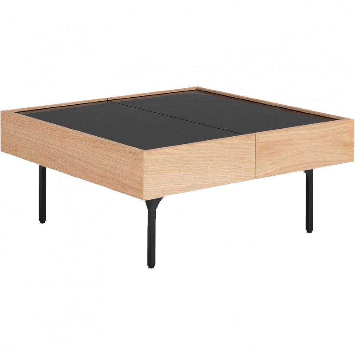Meubletmoi Table basse placage chêne et plateau coulissant en verre - GOU 7882